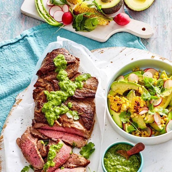 BBQ Lamb with Avocado Chimichurri Dressing